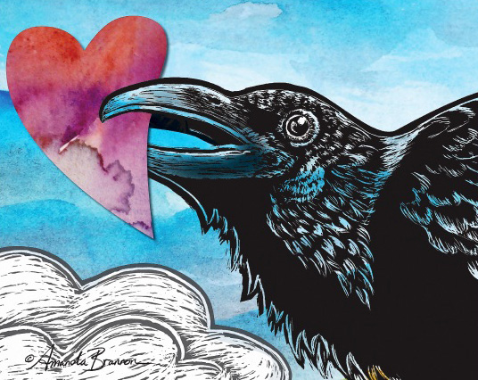 Artwork by Amanda Brannon - Raven holding a heart