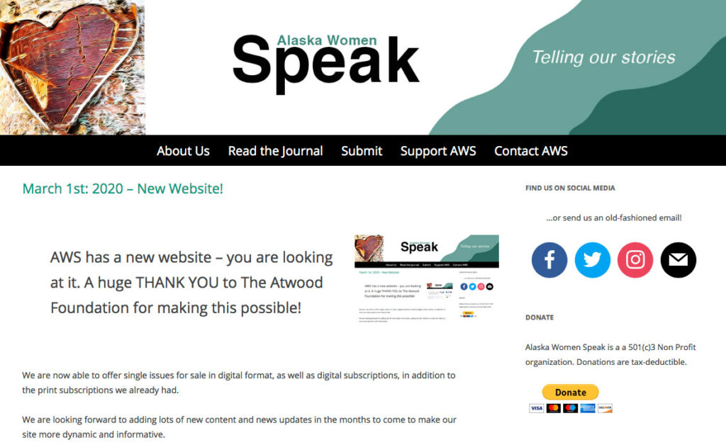 Screenshot of the Alaska Women Speak website.