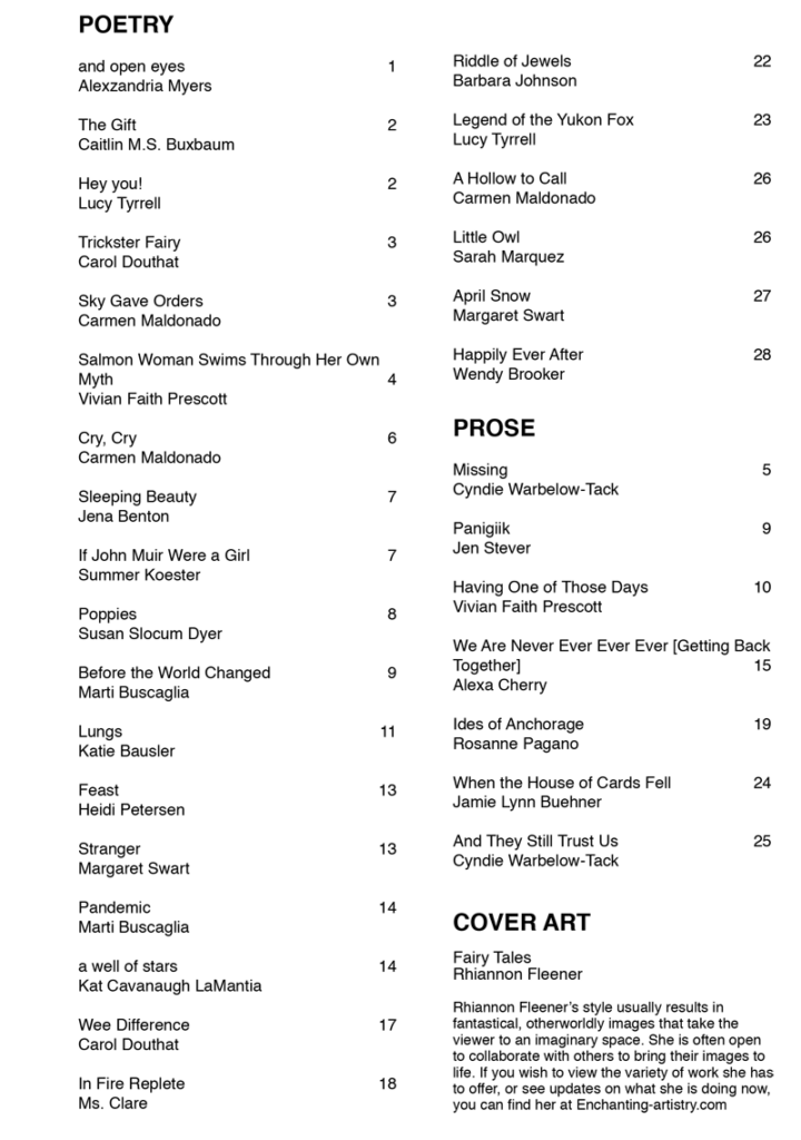 Table of contents for Summer 2020 issue